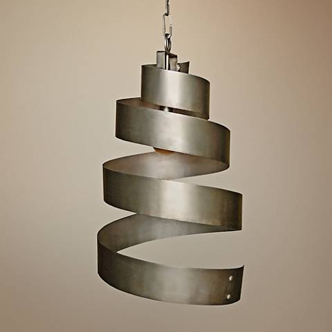 "Laura Lee Spiral 18"" Wide Smooth Silver Pendant"