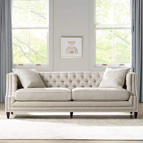 Marilyn white linen tufted sofa 16h93 lamps plus for White linen sectional sofa