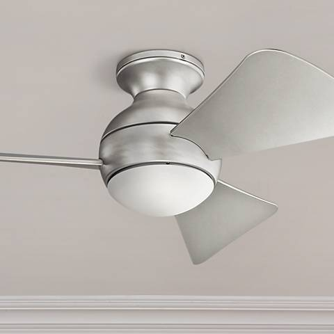 "34"" Sola Brusehd Nickel Wet LED Hugger Ceiling Fan"