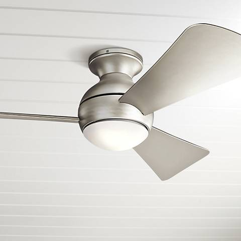 "44"" Sola Brushed Nickel Wet LED Hugger Ceiling Fan"