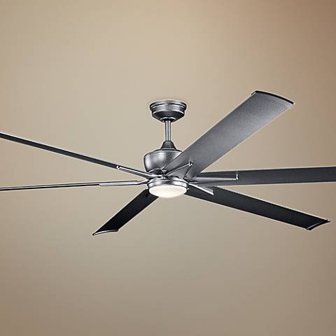 "96"" Kichler Szeplo II Weathered Steel Wet LED Ceiling Fan"