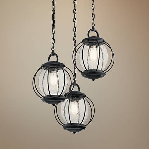 "Kichler Vandalia 22 3/4"" Wide Black Outdoor Hanging Light"