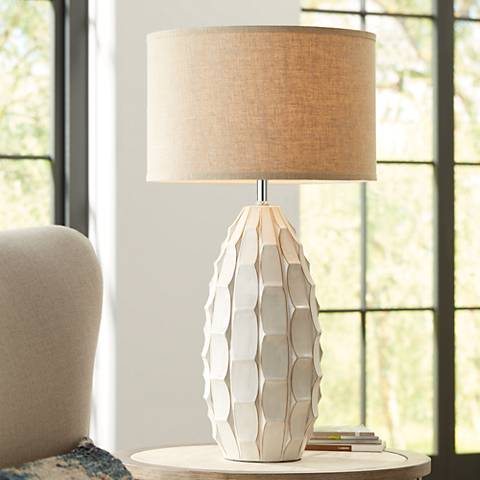 Possini Euro Jetson White Ceramic Table Lamp