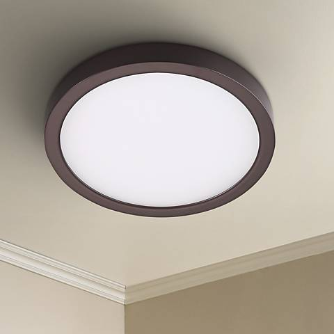 "Disk 8"" Wide Bronze Round LED Indoor-Outdoor Ceiling Light"
