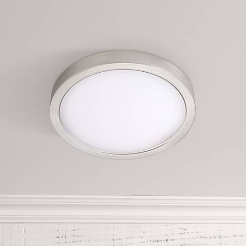 "Disk 8"" Wide Nickel Round LED Indoor-Outdoor Ceiling Light"