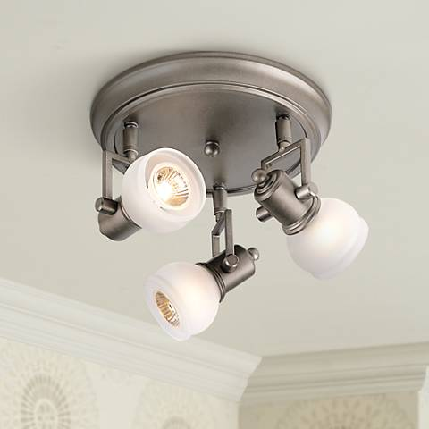 "Pro Track® Chace Pewter 10"" Wide 3-Light Ceiling Light"