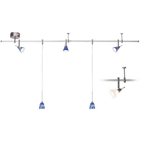 Pro Track Blue and Frosted Glass 5-Light Complete Rail Kit