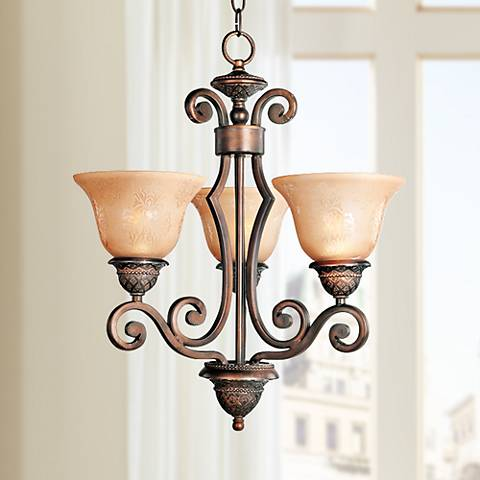 "Symphony 19"" Wide 3-Light Bronze Chandelier"