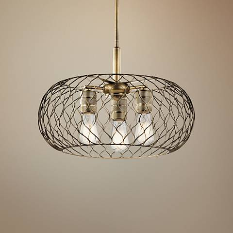 "Kichler Devin 18"" Wide Natural Brass Mesh 3-Light Pendant"
