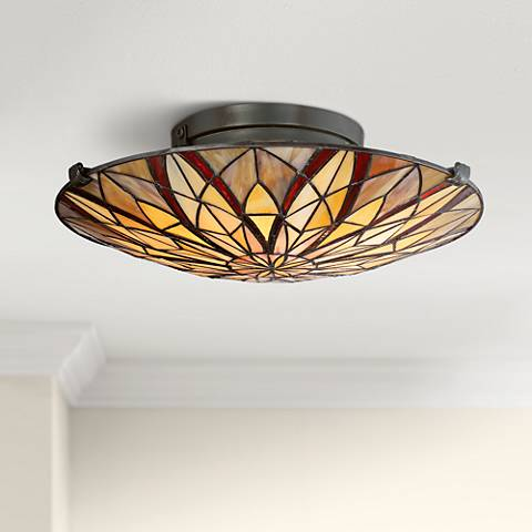 "Quoizel Victory 16 1/4"" Wide Valiant Bronze Ceiling Light"