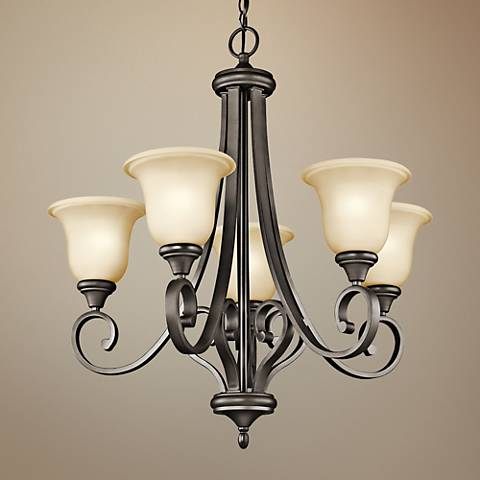 "Kichler Monroe 27 1/2""W LED Olde Bronze 5-Light Chandelier"