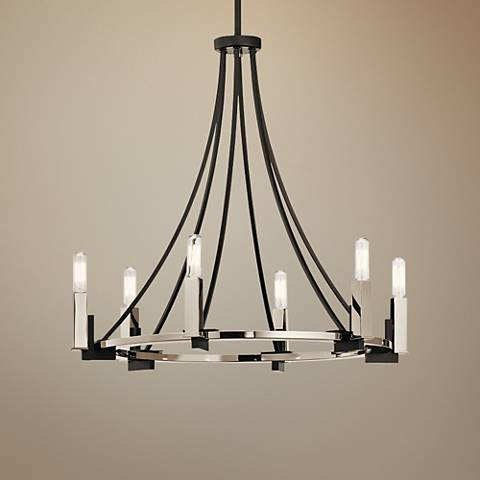 "Kichler Bensimone 24""W Black and Nickel 6-Light Chandelier"