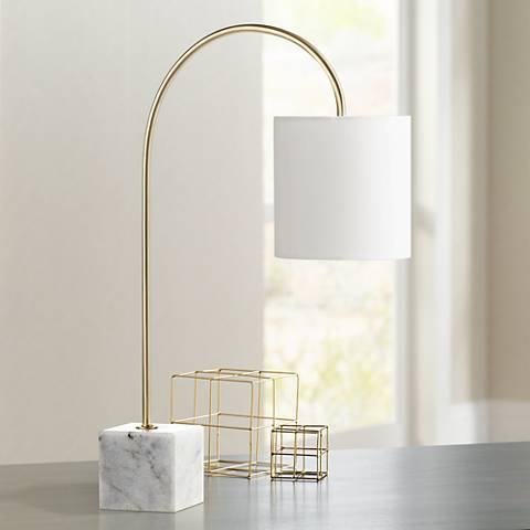 Task Brass and Marble Arched Desk Lamp