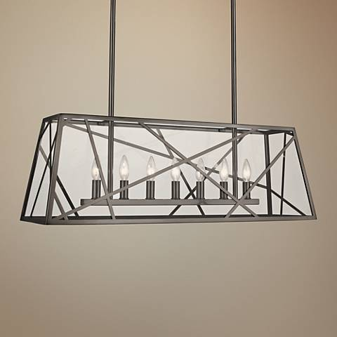 "Michael Berman Bond 36""W Blackened Nickel Island Chandelier"