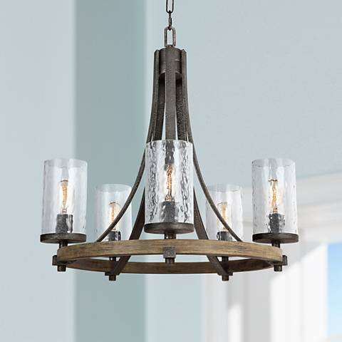 "Feiss Angelo 24"" Wide Weathered Oak 5-Light Chandelier"
