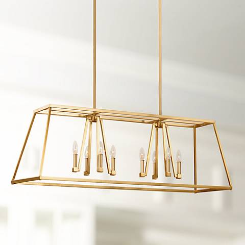 "Feiss Conant 48"" Wide Satin Brass 8-Light Island Chandelier"