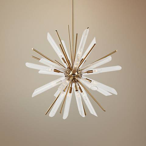 "Feiss Quorra 32 1/2""W Burnished Brass Starburst Chandelier"