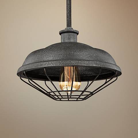 "Feiss Lennex 12""W Slated Gray Indoor-Outdoor Mini Pendant"