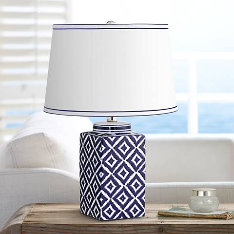 Grecian Shores Navy Blue Quilt Ceramic Table Lamp