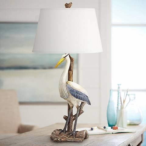 Marty del Mar White Heron Coastal Table Lamp with Nightlight