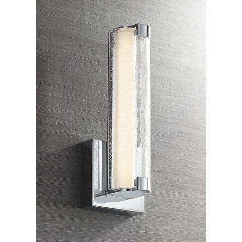 "Cutler 13 1/2"" High Chrome and Crackle Glass LED Wall Sconce"