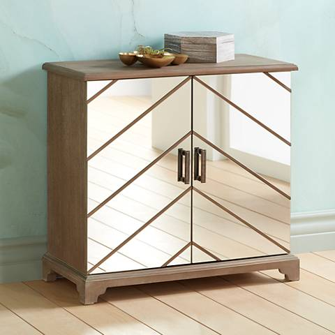 Chevron Mirrored 2-Door Cabinet
