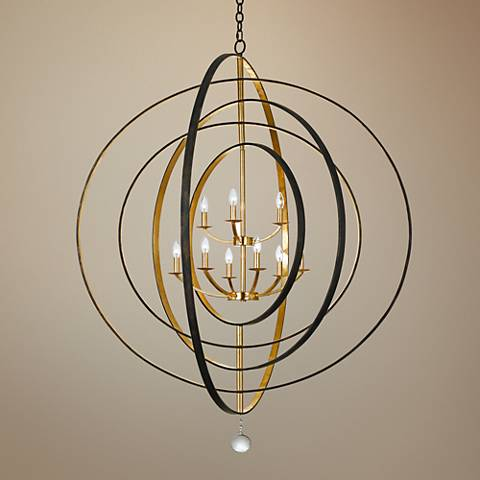 "Crystorama Luna 48"" Wide Bronze and Gold 9-Light Chandelier"