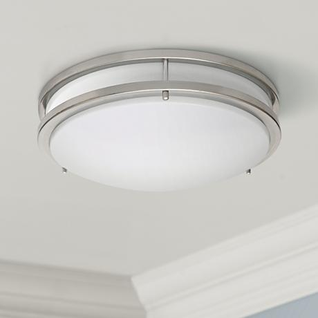 "Zaire Brushed Nickel 17"" Wide Flushmount LED Ceiling Light"