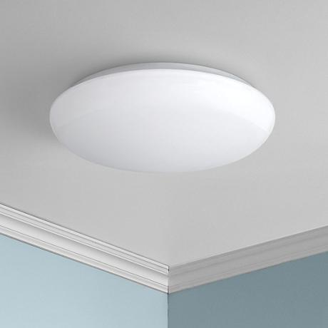 "Levine Shallow Flushmount 11"" Wide White LED Ceiling Light"