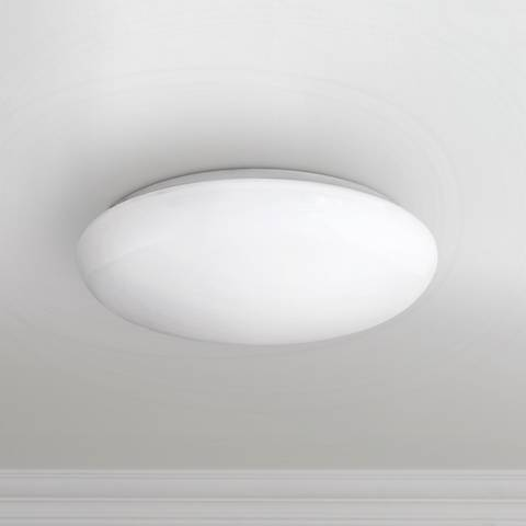 "Levine Shallow Flushmount 14"" Wide White LED Ceiling Light"
