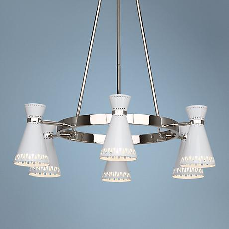 Jonathan Adler Havana Nickel-White 6-Light Chandelier