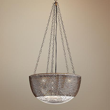 "Arteriors 3 Light Chainmail Brass 15.5"" Wide Glass Pendant"