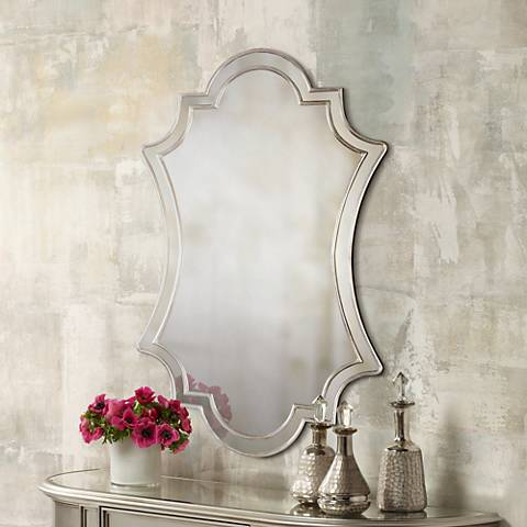 "Elara Antiqued Silver 27"" x 43"" Wall Mirror"