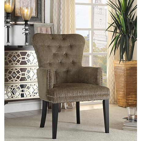 Dresden Tufted Taupe Accent Armchair