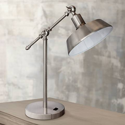 Schlater Brushed Steel Metal Task Desk Lamp