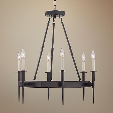 "Tinley 26 1/2""W Bronze 6-Light Iron Chandelier"
