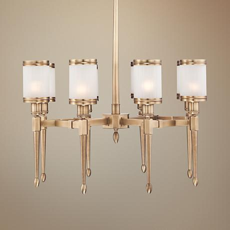 "Heller 29"" Wide Frosted Glass Gold Chandelier"