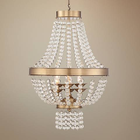 "Chenevey Gold and Glass 20"" Wide 6-Light Chandelier"