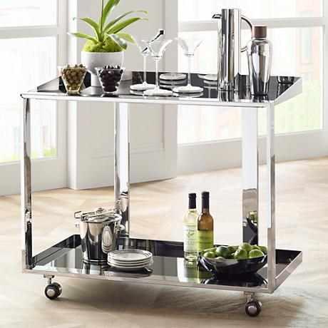 Maddox Polished Stainless Steel and Black Glass Bar Trolley