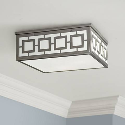"Jonathan Adler Parker 16 3/4"" Wide Nickel Ceiling Light"