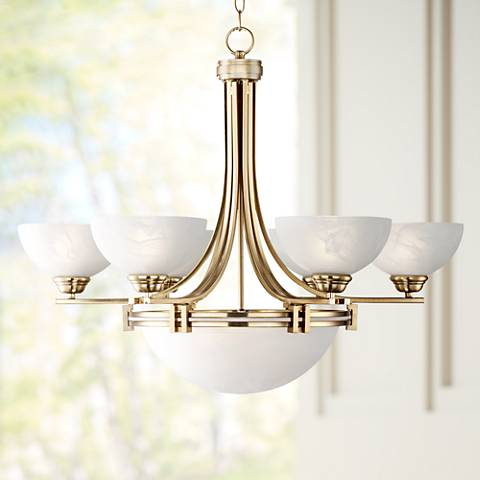 "Possini Euro Deco 31 3/4"" Wide Warm Brass Chandelier"