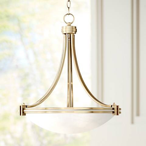 "Possini Euro Deco 24 1/4"" Wide Warm Brass Pendant Light"