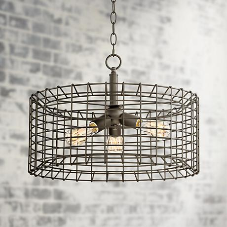 "Fonderie 20"" Wide Rusty Bronze Pendant Light"