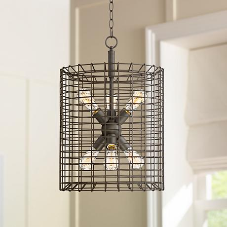 "Fonderie 16"" Wide Rusty Bronze Foyer Pendant"