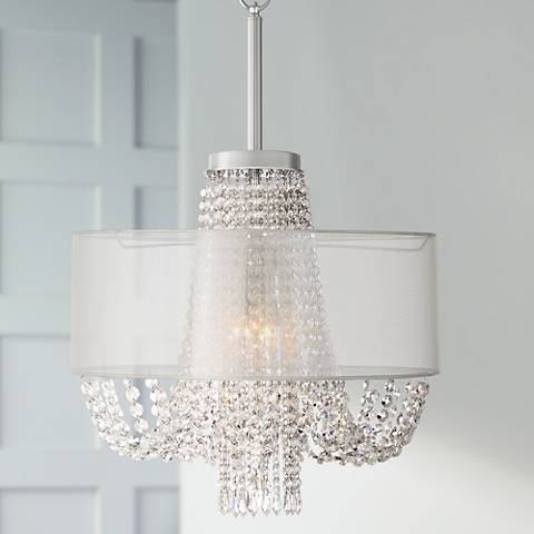 "Mirinda 22"" Wide Chrome 4-Light Crystal Chandelier"