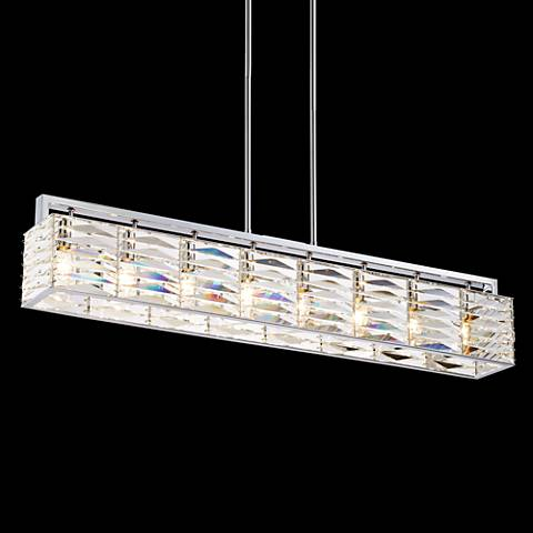 "Possini Euro Elyria Chrome 38"" Wide Crystal Pendant Light"