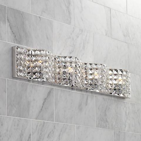 "Possini Euro Alexi 34"" Wide Crystal Bath Light"