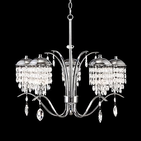 "Crystal Shower 25 1/2"" Wide 5-Light Chrome Chandelier"