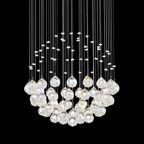 Globus 16 Wide Chrome And Glass Halogen Pendant Light