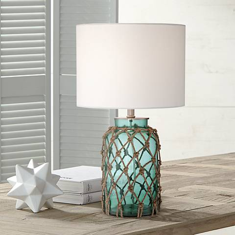 Crosby Blue Bottle with Rope Glass Table Lamp